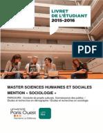 Livret Master Sociologie 2015 2016 Version 28 Septembre 2015