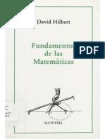 230.- Hilbert D. - Fundamentos de La Matemáticas