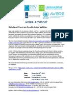 ZEV Alliance Media Advisory, 8 Dec 2015