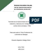 """Toxicidad binaria de los plaguicidas metomilo y rotenona en la """"lenteja de agua"""" Lemna minor (Linnaeus, 1753)"""