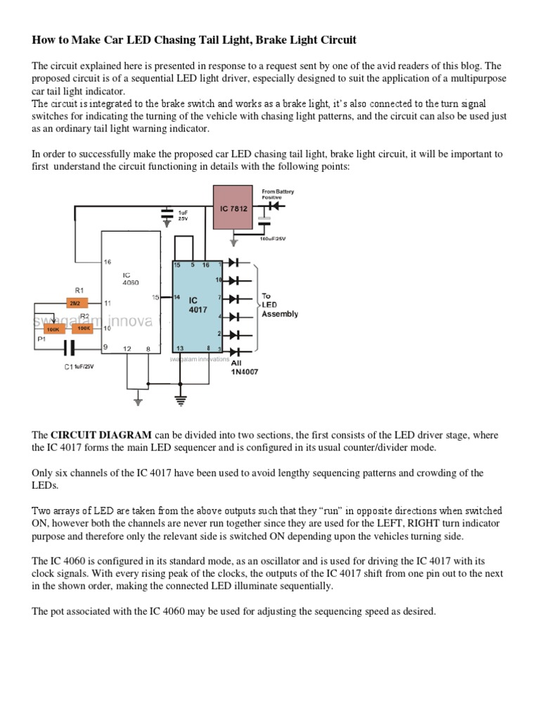 How To Make Car Led Chasing Tail Light Emitting Diode This Schematic Uses The 555 Timer And 4017 Ic Drive 3 Electronic Circuits