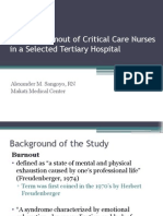 Burnout Levels of Critical Care Nurses
