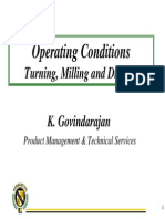 5.1 Operating Conditions - Turning, Milling & Drilling