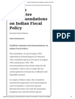 Chelliah Committee Recommendations on Indian Fiscal Policy