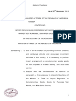 New Draft REGULATION OF MINISTER OF TRADE OF THE REPUBLIC OF INDONESIA