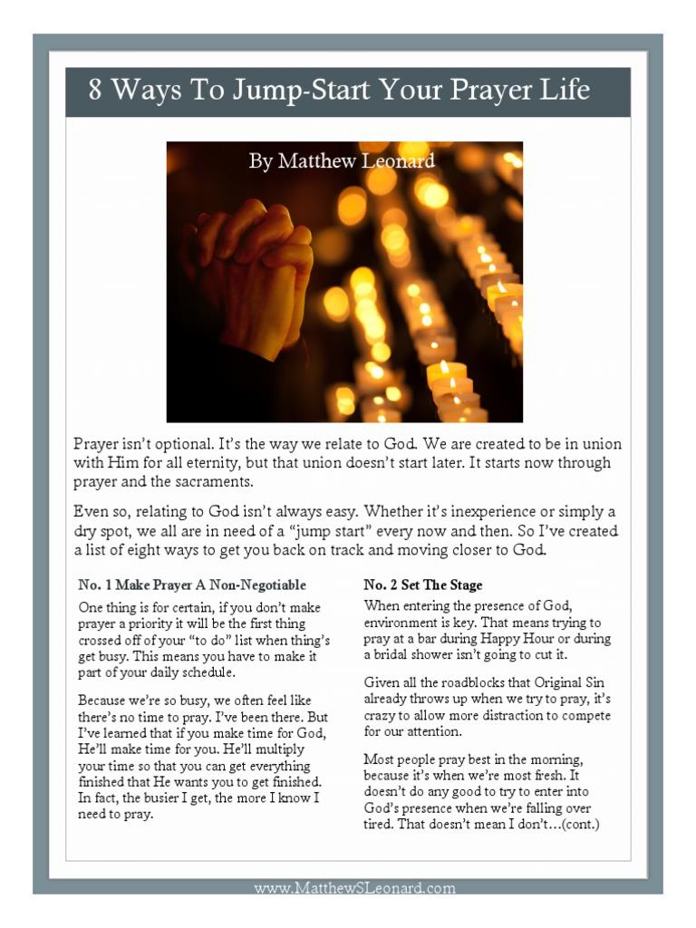 8 Ways To Jump Start Your Prayer Life W Links Prayer Saint