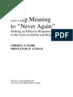 CFR - Never Again Sudan Csr