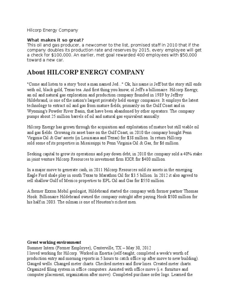 Hilcorp Energy Company (HRM) | Employee Benefits | Employment