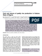 Cost and returns of paddy rice production in Kaduna State of Nigeria
