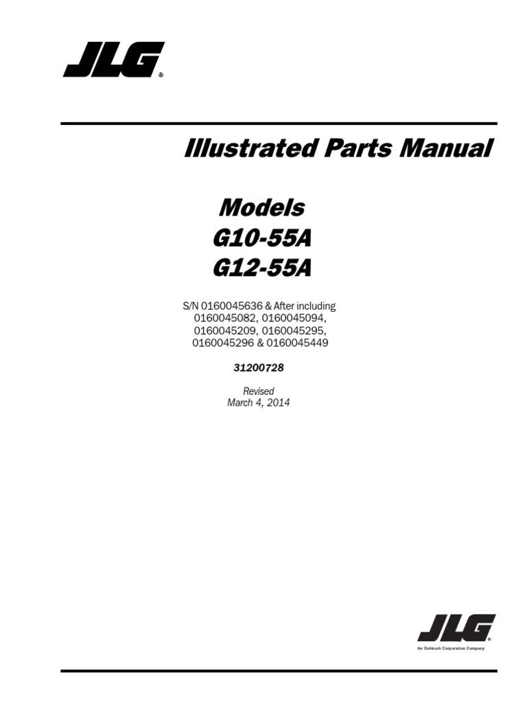 JLG G12-55A Sn 0160045636 & After Telehandler Parts Manual