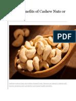 Health Benefits of Cashew Nuts or Kaju