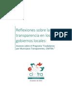 Reflexiones Sobre La Transparencia en Gobiernos Locales 2003