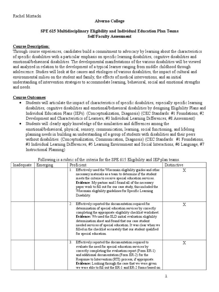 Spe 615 Ddp Self Assessment Learning Disability Individualized