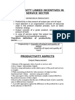 Productivity Linked in Service sector