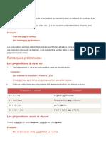 La Préposition - Cours 2