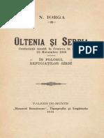 Nicolae Iorga - Oltenia Și Serbia - Conferință Ținută La Craiova În Ziua de 22 Noiembrie 1915 În Folosul Refugiaților Sîrbi