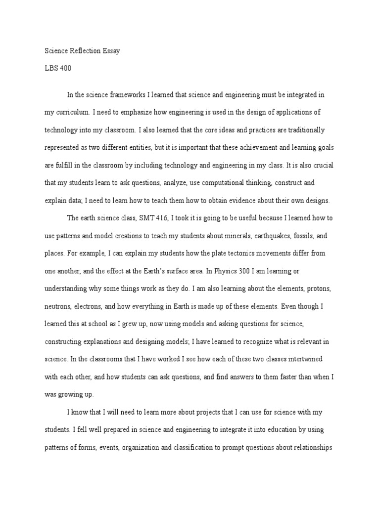 Proposal Argument Essay Topics  Sample Narrative Essay High School also Easy Essay Topics For High School Students Science Reflection Essay  Science Education  Science Health And Fitness Essay