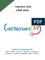 """Programa """"Unidad para Avanzar"""" lista Ceap 2016"""