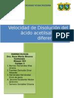 Velocidad de Disolución Del Ácido Acetilsalicílico a Diferentes PH