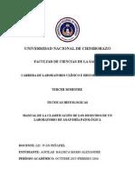 MANUAL DE LA CLASIFICACIÓN DE LOS DESECHOS DE UN LABORATORIO DE ANATOMÍA PATOLÓGICA