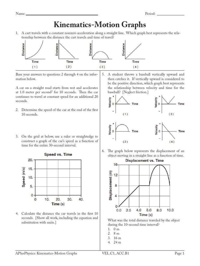Worksheets Motion Graphs Worksheet 3 kinematics motion graphs acceleration speed speed