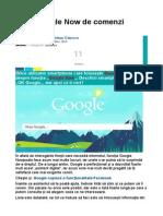Lista Google Now de Comenzi Vocale