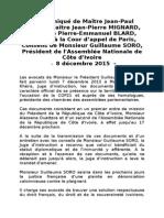 Communiqué du Collectif des avocats de Guillaume Soro