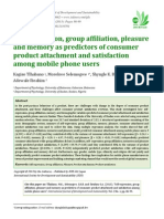 Self-expression, group affiliation, pleasure and memory as predictors of consumer product attachment and satisfaction among mobile phone users