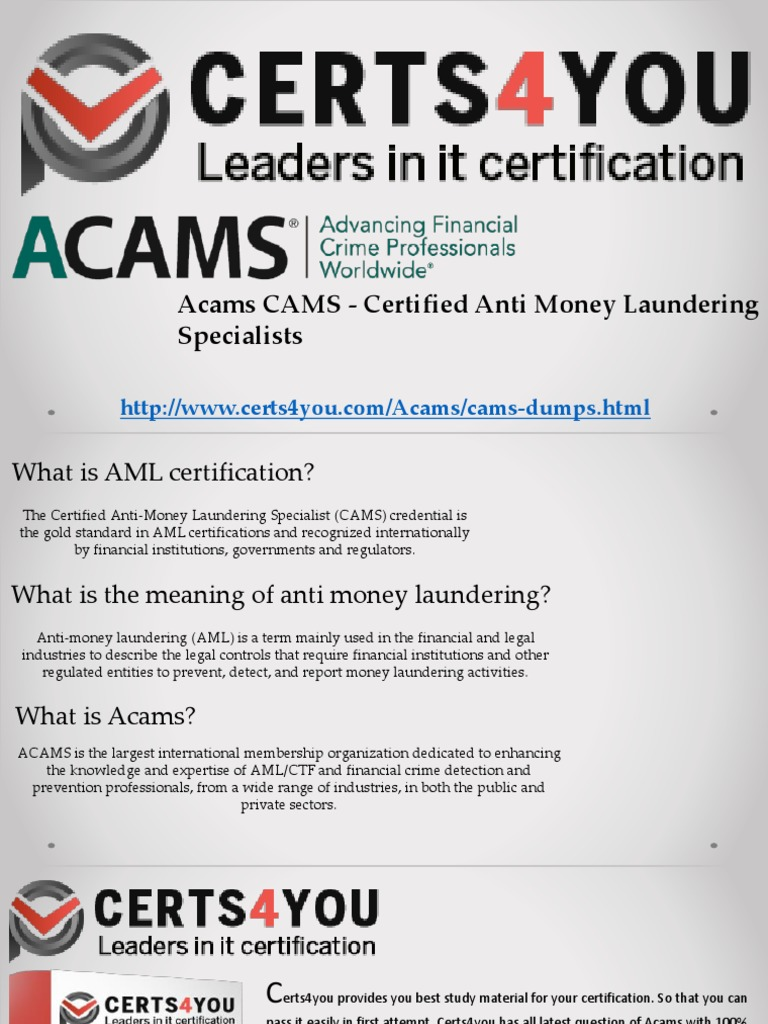 Acams practice test money laundering credit card 1betcityfo Choice Image