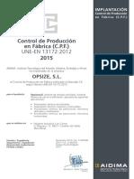 Certificado del Control de Producción en Fábrica de OPSIZE