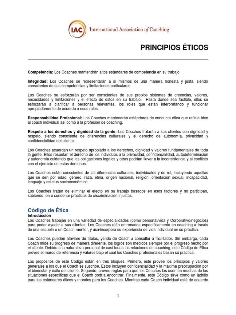 Coach - Principios Eticos