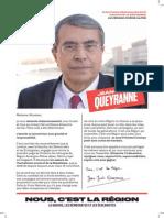 Profession de foi de Jean-Jack Queyranne pour le second tour des élections régionales