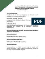 Discurso del Presidente Danilo Medina en Almuerzo de la Cámara Americana de Comercio de la República Dominicana (AMCHAMDR)