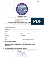 Mary Awards Nomination Form