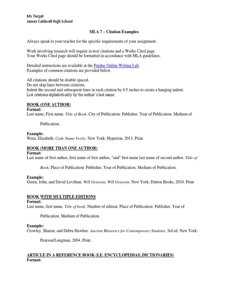 Mla 7 citation examples citation websites ccuart Image collections