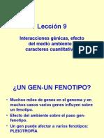 Lección 9 Interacciones Génicas y Con Ambiente