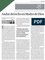"""""""Andar derecho en Madre de Dios""""  Gestión - Columna de Pedro Solano"""