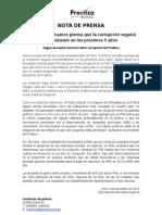 Nota de Prensa - Resultados de la IX Encuesta Nacional sobre Corrupción 2015