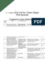 Camera Shotlist for DownStage