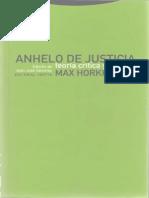 Horkheimer. Anhelo de Justicia