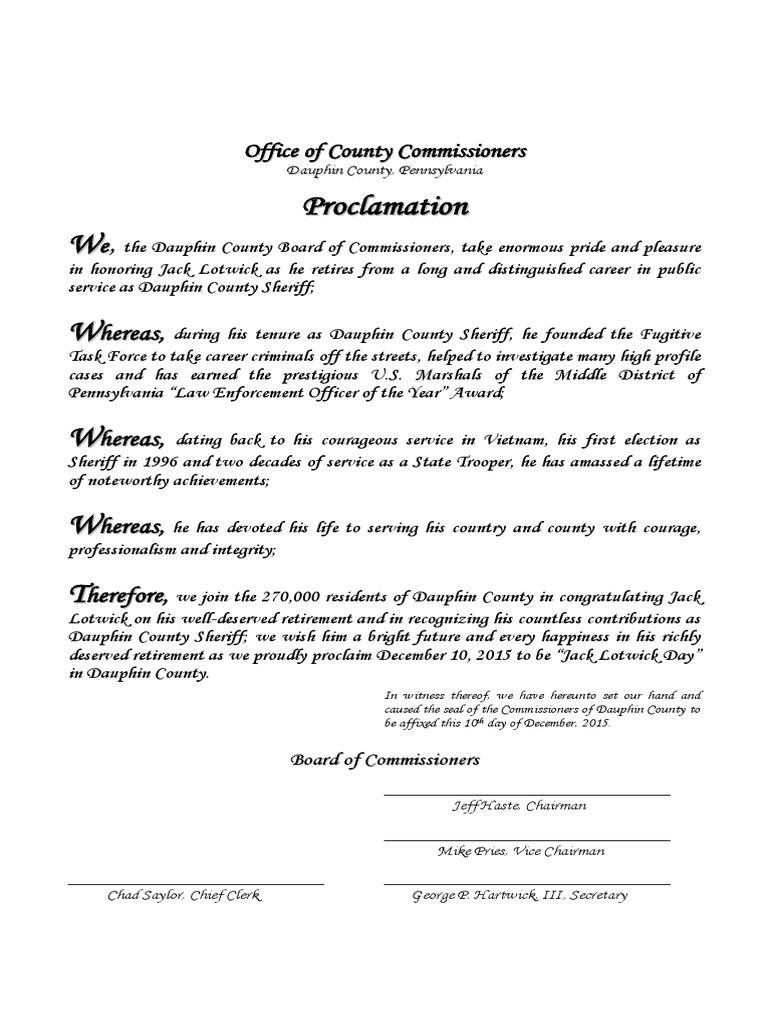 Sheriff Jack Lotwick Retirement Proclamation