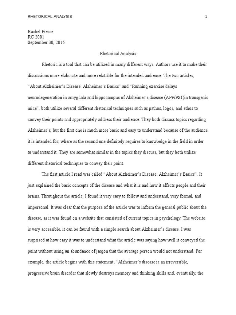 rhetorical analysis final draft alzheimer s disease rhetoric