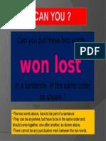 won lost