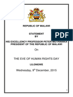 President Arthur Peter Mutharika's National Address on the Eve of Human Rights Day - December 9, 2015