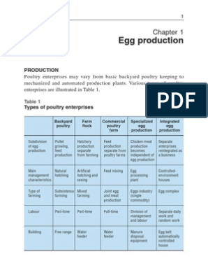 Chapter 1 - Egg Production | Poultry | Chicken