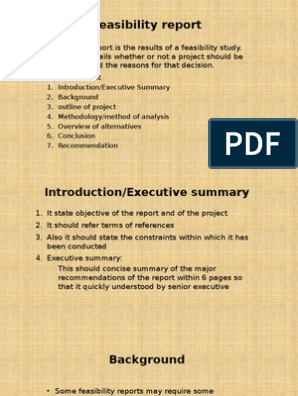 Feasibility Report Parts and Function | Feasibility Study