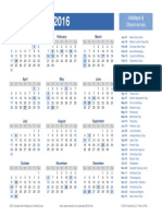 2016 Yearly Holiday Calendar ok