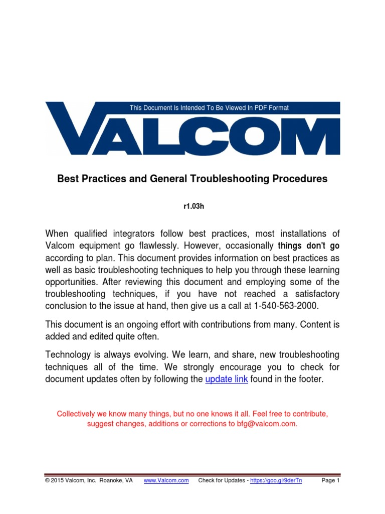 1509793846 valcom best practices and general troubleshooting procedures  at crackthecode.co