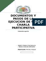 Documentos y Pasos de La Ejecucion de Una Charla Participativa