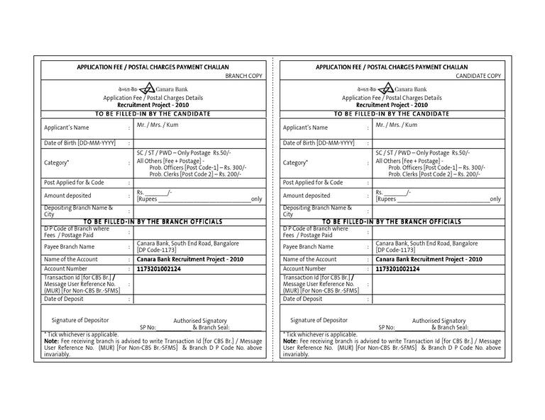 sbi challan form download for clerk 2014